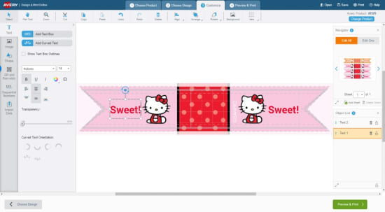 To create your adhesive flags, open the Hello Kitty adhesive flag design template on Avery Design & Print.