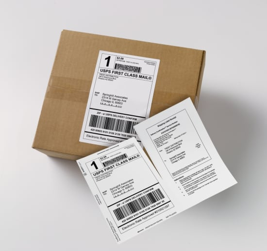 Print your shipping label and receipt in one pass through the printer with Avery Shipping Labels with Paper Receipts.