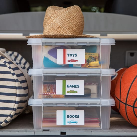 Entertainment bin that can keep the kids busy during the ride or at your trip destination.