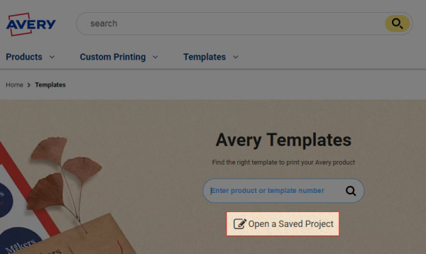 Go To Avery Print And Click On Open A Saved Project