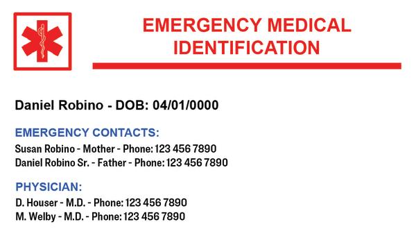 Emergency Medical Identification Card Templates