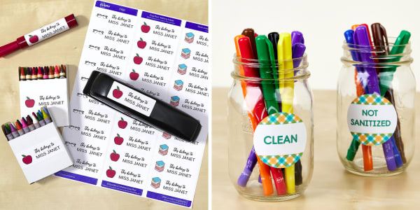 Two images side by side. Left image shows school supplies for teachers and Avery labels on a wooden table. There are crayons, a marker and a stapler with school supply labels that include the teacher's name and an apple, glasses or books. Right image shows Mason jars holding school supplies that are clean or need to be sanitized labeled with Avery round labels.