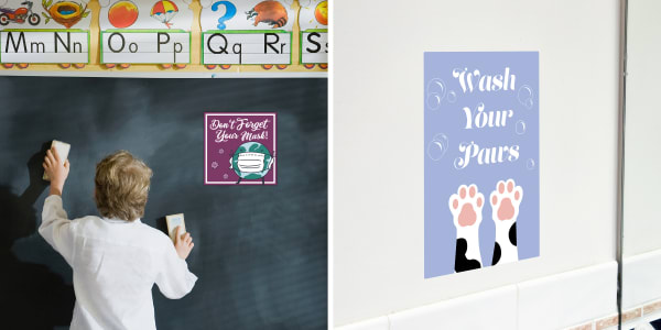 Two images side by side. Left side shows a teacher facing a chalkboard with erasers in their hand with an alphabet border across the top and an Avery removable sign label that reads Don't Forget Your Mask. Right side shows an Avery removable sign label in a bathroom that reads Wash Your Paws with a drawing of cat paws and bubbles.