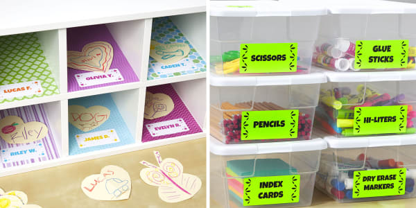 Two images side by side. Left image shows school cubbies with colorful printed cardstock used as liner for the cubbies. On the paper are Avery labels with the kids' names. Right image shows clear storage bins filled with school supplies color-coded with neon green Avery labels.
