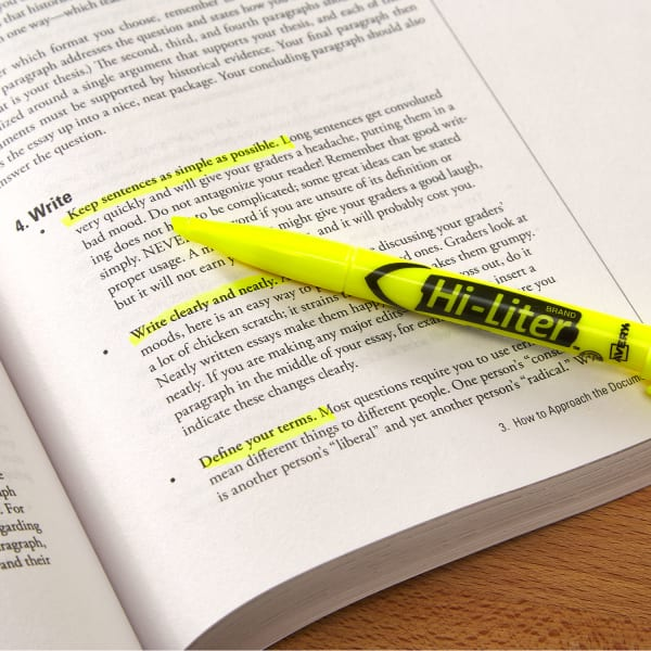 yellow highlighter in english book