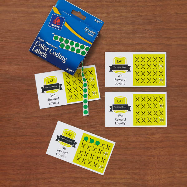 Punch Cards with Yellow Color Coding Labels