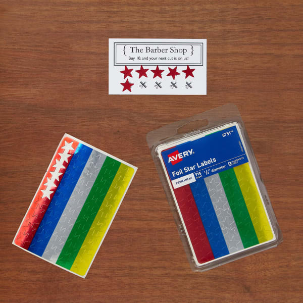 Multi Stars Color Punch Cards Loyalty