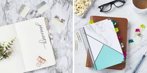 bullet journal examples showing how to organize your sections without dividers using avery ultratabs beautiful marble counter top with simple elegant bullet journals one with sparkly silver luxe ultratabs and one with pretty jewel tone luxe ultratabs