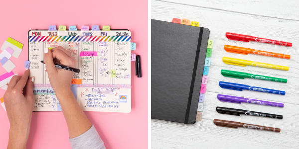 bullet journal examples showing use of color decorating or color coding a bullet journal using avery ultratabs and avery marks a lot bright colorful permanent markers with ultra fine tips