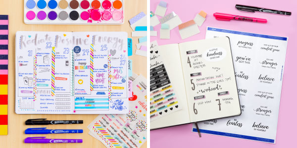 bullet journal examples showing how to use planner stickers in a bullet journal includes one image of avery planner stickers in a bright colorful journal next to an image of avery labels used to make elegant custom stickers for a bullet journal or planner