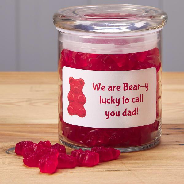 Shipping label gummy bear jars