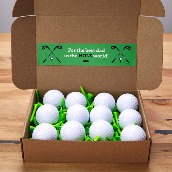 Golf ball gift set with wraparound labels