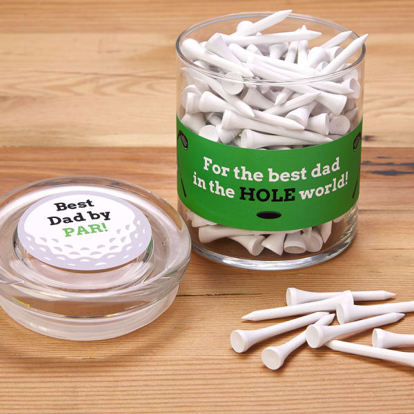 Golf tee gift idea in jar with label