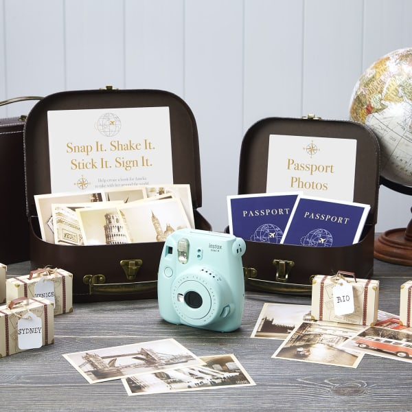 graduation travel photo party favors with globe and suitcase