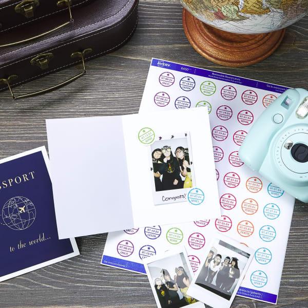keepsake polaroid passport photo graduation party vintage globe