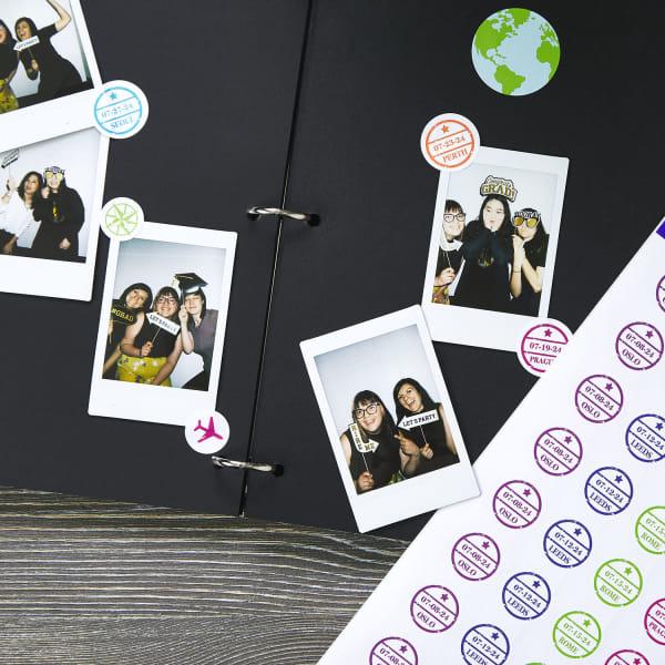 graduation pary photobook with polaroids stamp stickers