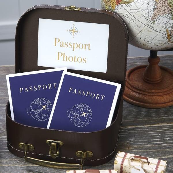 passport graduation party favors vintage suitcases