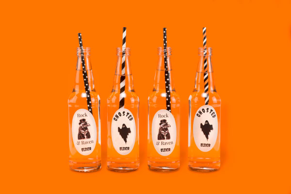Halloween Party Glass Bottles with Labels
