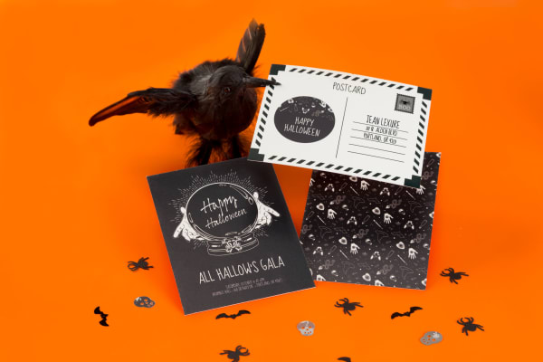 Halloween Party Cards with Raven