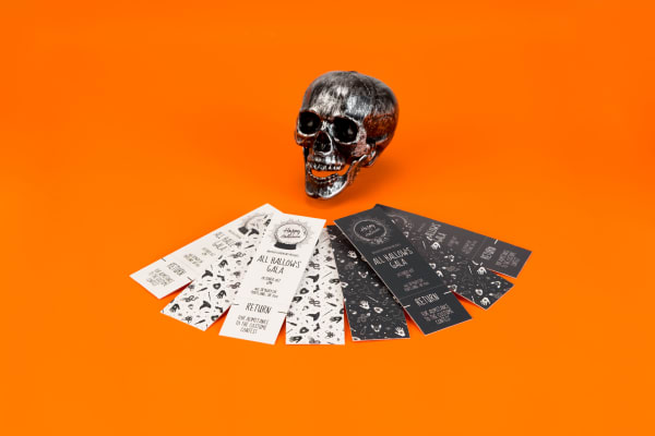 Halloween Party metal skull and tickets