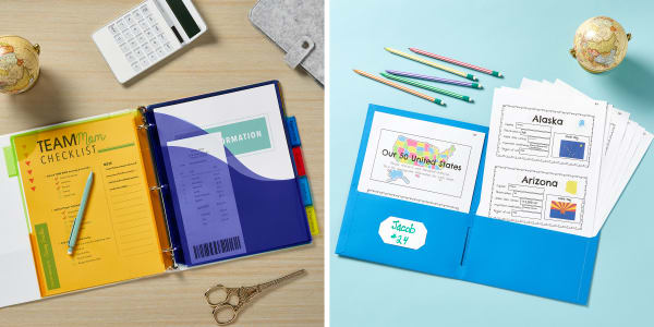 Two images side by side. Left image shows a light wood desk with an open Avery binder surrounded by home office supplies. Inside the binder are Avery plastic dividers with pockets filled with mom's checklist, receipts and other home office papers. Right image shows an Avery two pocket folder open on a light blue kids table surrounded by pencils and a mini globe. Inside the pocket folder are reports on the 50 states.