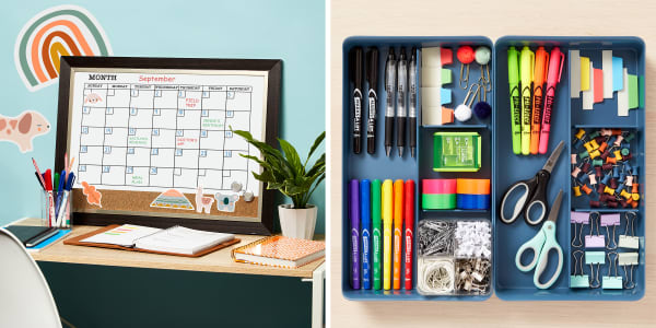 Two images side by side. Left image shows a home desk with a family white board calendar. On the desk is a plant, school supplies and a pencil cup filled with Avery dry erase markers. Right image shows a drawer organizer filled with school supplies including Avery Marks A Lot Markers, Hi Liters and Ultra Tabs.