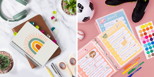 Two images side by side. Left image shows a notebook on a marble counter surrounded by school supplies and succulents. Avery Ultra Tabs are used to mark places in the notebook. Right image shows a pink background with various school supplies and sports equipment. In the center of the supplies are weekly schedules for kids organized using Avery sheet protectors.