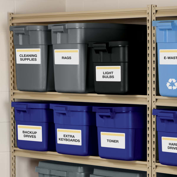 Avery 61505 Industrial labels used for office safety organizing bins neatly on shelves