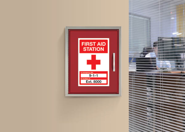 Properly labeled first aid kit to improve office safety