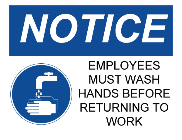 Blue and white professional office safety sign template for washing hands