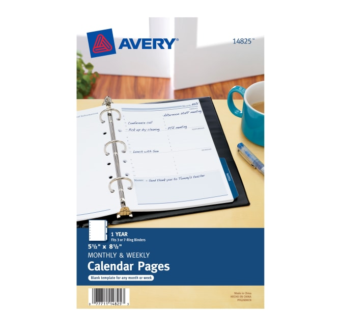 Avery Calendar Pages 5 1 2 X 8 1 2 25 Pages 14825 Avery Com