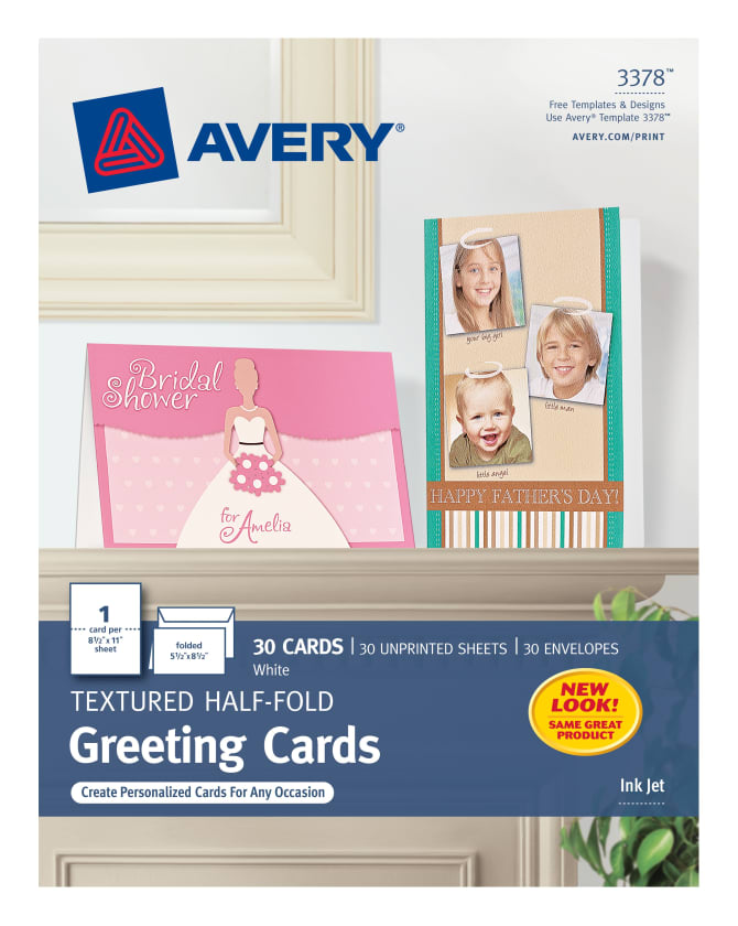 Avery Half Fold Greeting Cards Uncoated 30 Cards 3378 Avery