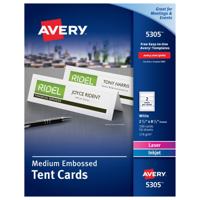 Avery Medium Tent Cards Embossed Uncoated Two Sided Printing 2 1 2 X 8 1 2 100 Cards 5305