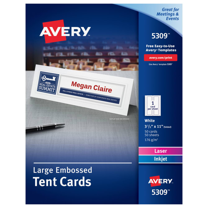 Avery Large Printable Embossed Tent Cards 50 Cards 5309 Avery
