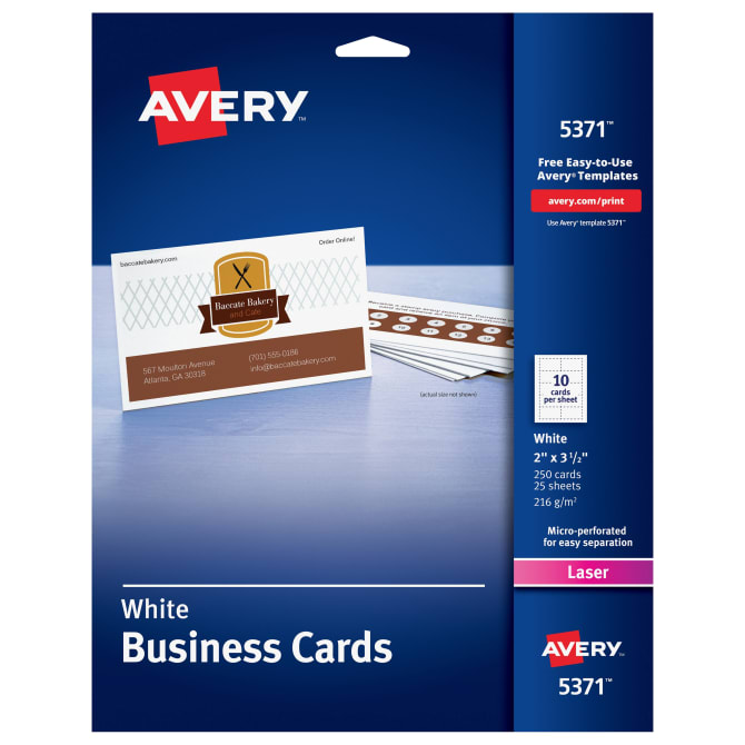 Avery printable business cards 2 x 3 12 250 cards 5371 avery fbccfo Image collections