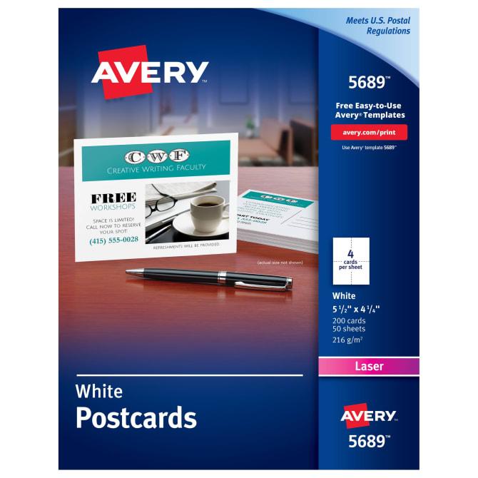 Avery Printable Postcards 4 1 4 X 5 1 2 200 Cards 5689 Avery Com