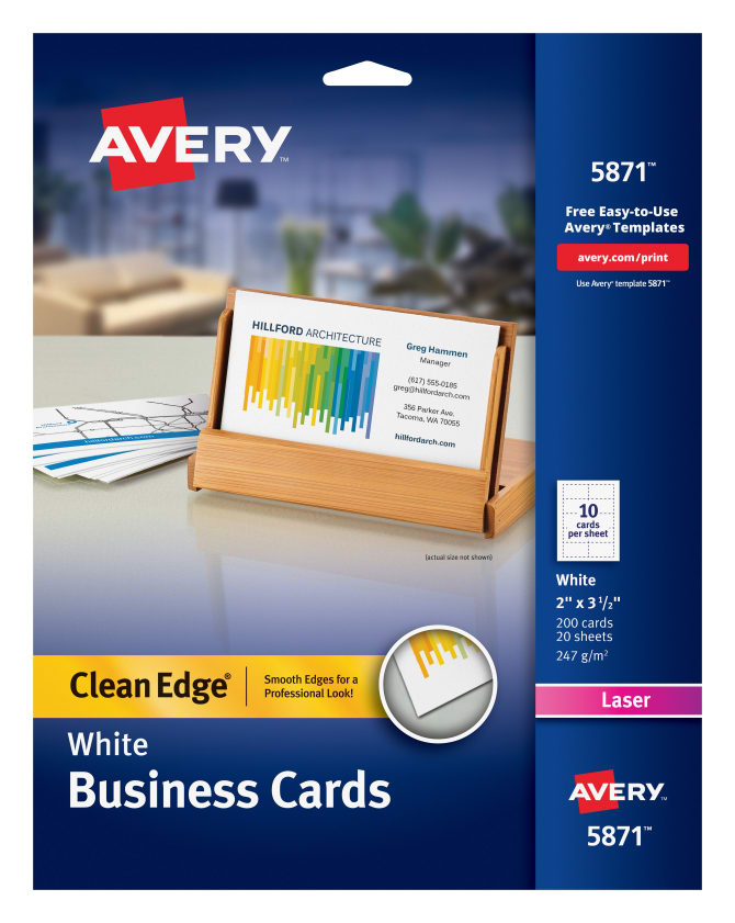 Avery Clean Edge Printable Business Cards Uncoated 200 Cards 5871