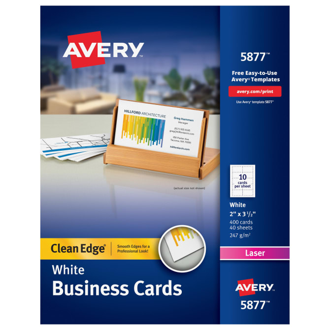 Avery clean edge printable business cards uncoated 400 cards avery clean edge printable business cards uncoated 400 cards 5877 avery reheart Images