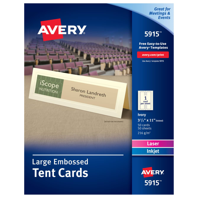 Avery Large Printable Ivory Tent Cards Embossed 50 Cards (5915 ...