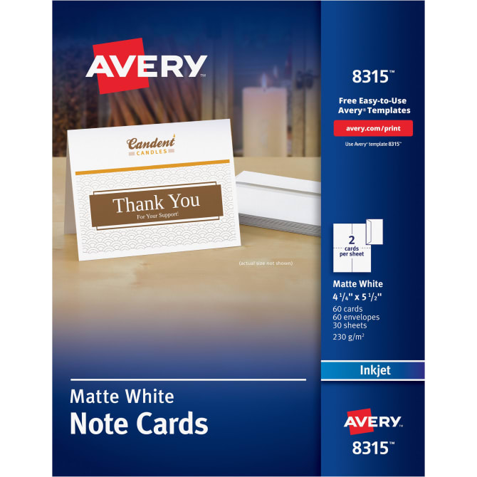 Avery Printable Note Cards 4 14 X 5 12 60 Cards 8315 Avery