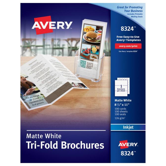 Avery Tri Fold Printable Brochures 8 12 X 11 100 Brochures 8324