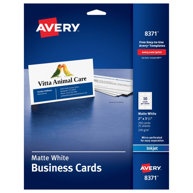Avery printable business cards 2 x 3 12 250 cards 8371 avery accmission Image collections