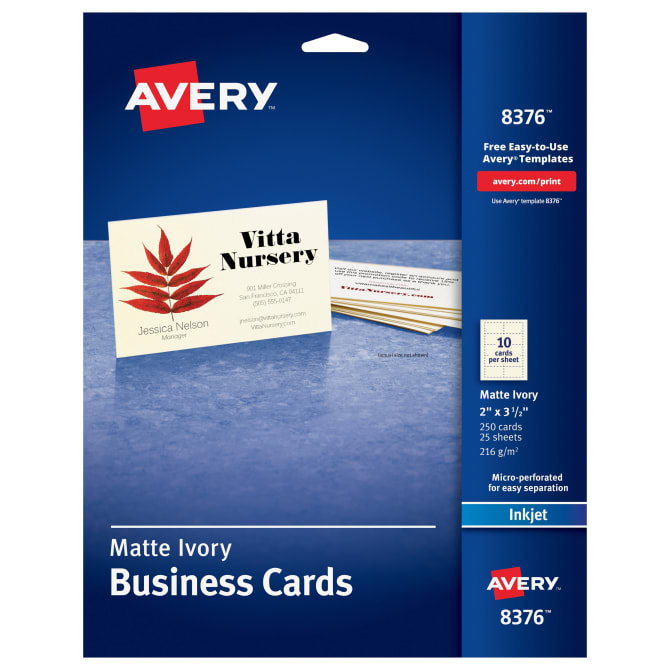 Avery printable business cards 2 x 3 12 250 cards 8376 avery accmission Choice Image