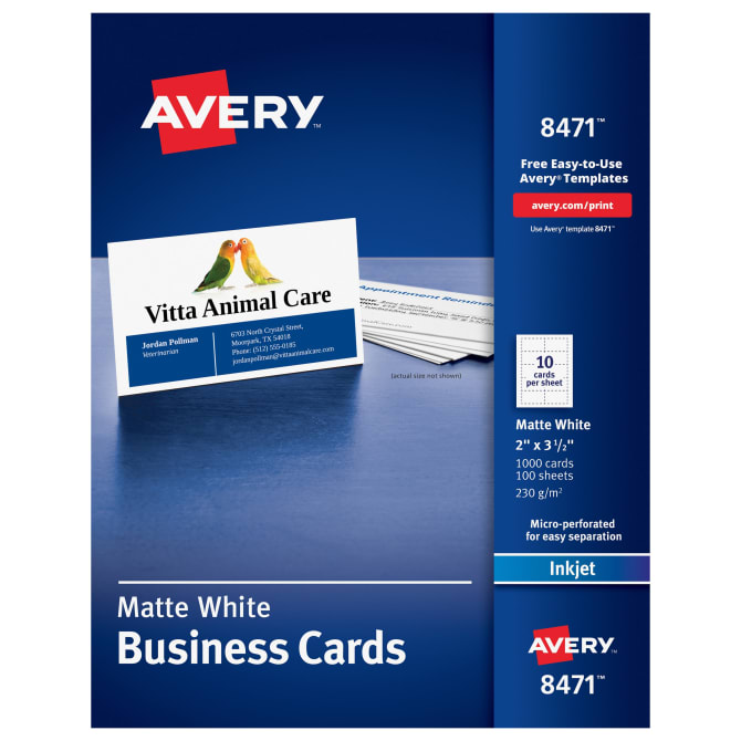 Avery Business Cards 2 X 3 1 2 Sure Feed Inkjet 1 000 Cards 8471