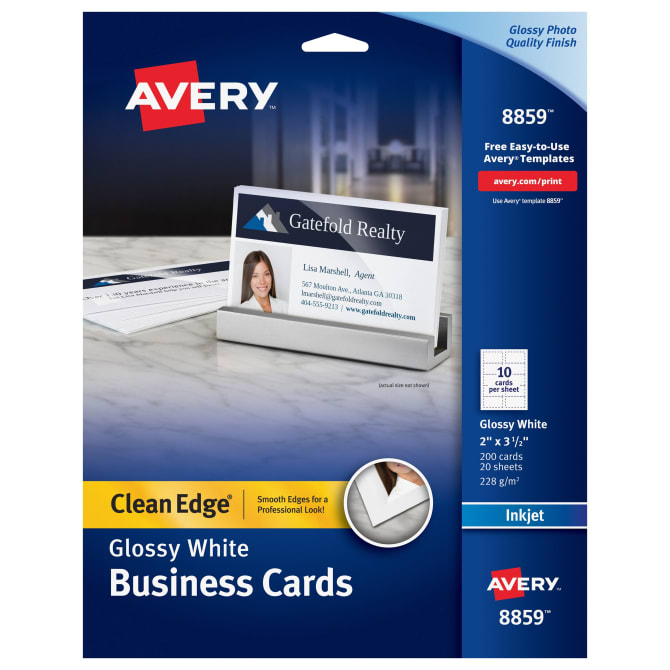Avery Clean Edge® Business Cards Glossy/Matte Back 200 Cards (8859
