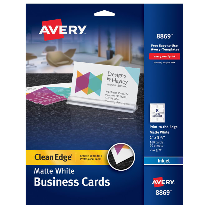 Avery Clean Edge Printable Business Cards Matte 160 Cards 8869 Avery Com