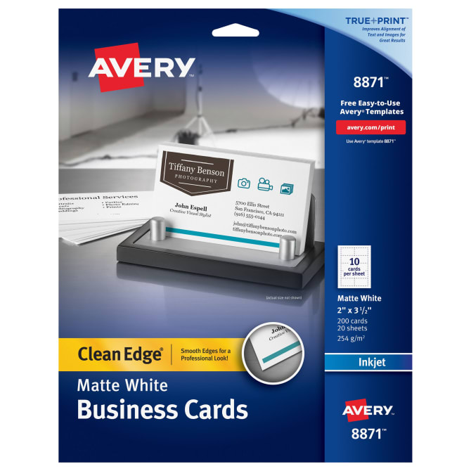 Avery Clean Edge Printable Business Cards Matte 200 Cards 8871