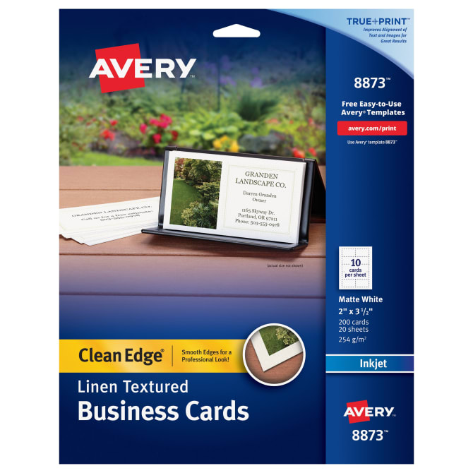 Avery Clean Edge Printable Business Cards Matte Linen 200 Cards