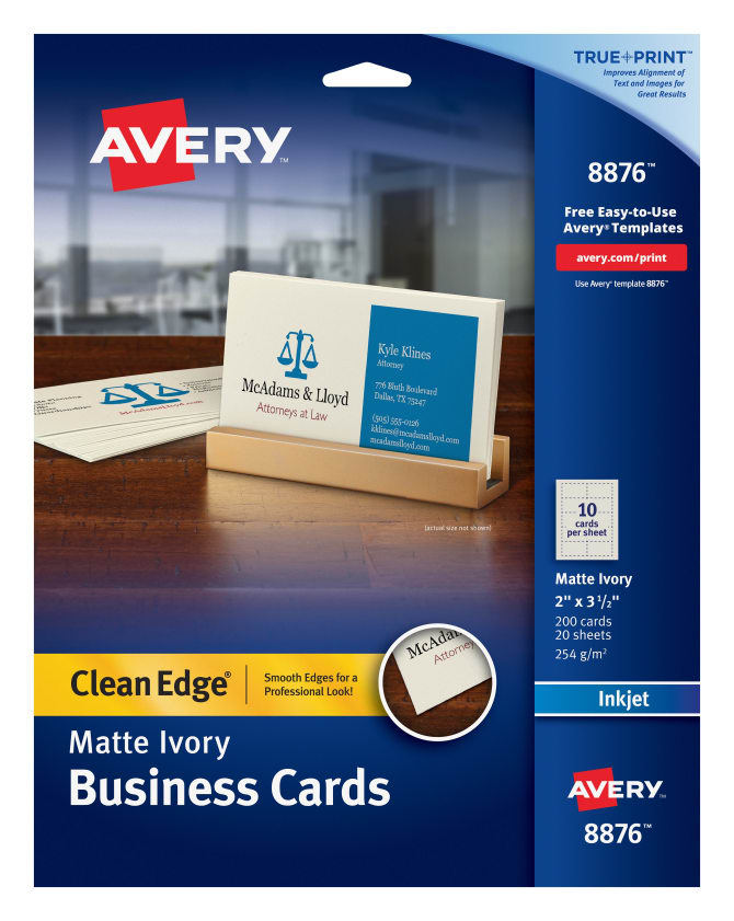 Avery clean edge printable business cards matte ivory 200 cards avery clean edge printable business cards matte ivory 200 cards 8876 avery flashek Images