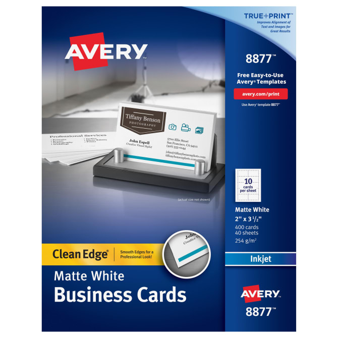 Avery Clean Edge® Printable Business Cards Matte, 400 Cards (8877 ...